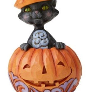 Jim Shore Halloween Mini Black Cat Popping Out of a Pumpkin
