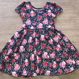 Twirly Dress Navy and Pink Floral