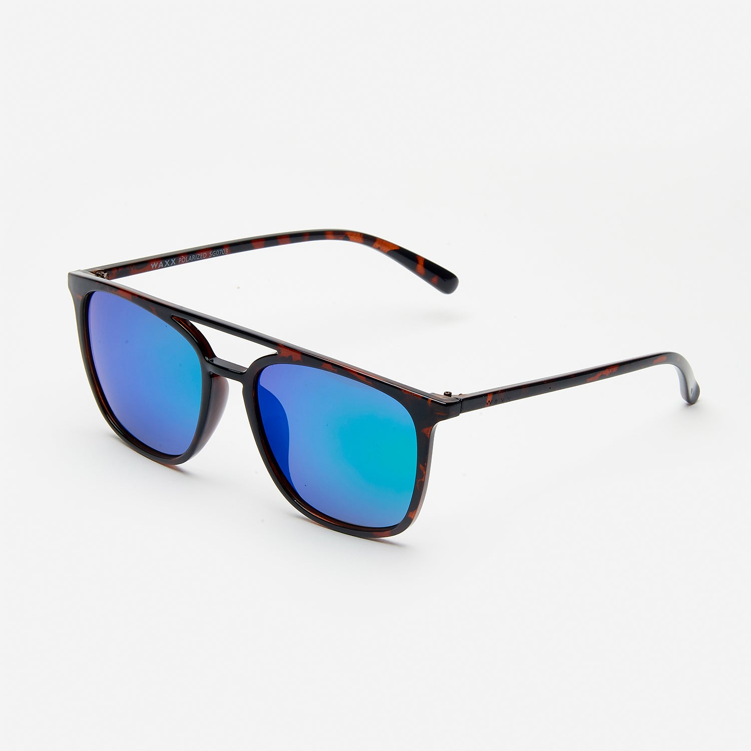 Waxx Retro Style Unisex Sunglasses Brown Marble Frame & Blue Lenses