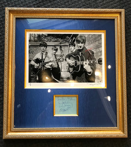 ORIGINAL BEATLES AUTOGRAPHS WITH HISTORIC FINE ART PHOTOGRAPH