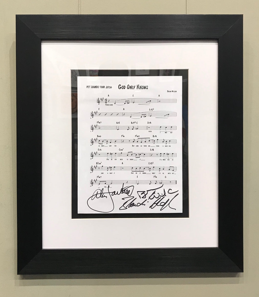 GOD ONLY KNOWS - SHEET MUSIC SIGNED BY BRIAN WILSON, AL JARDINE & BLONDIE CHAPLIN