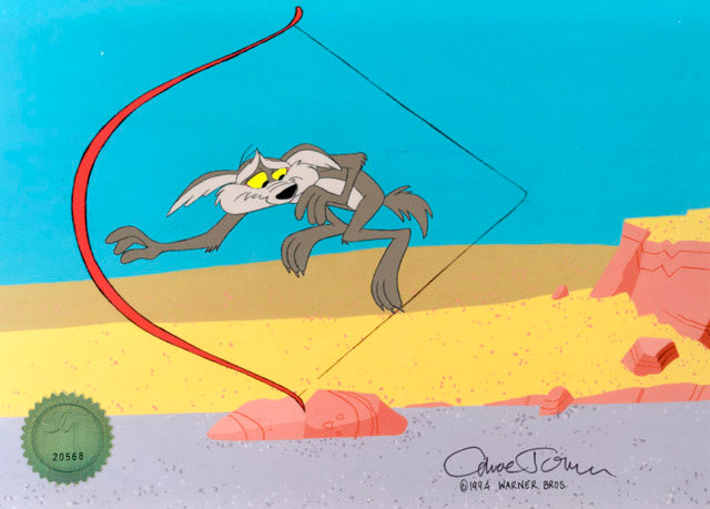WILE E COYOTE AND BOW - ORIGINAL PRODUCTION CEL