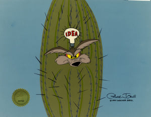 WILE E COYOTE IN CACTUS - ORIGINAL PRODUCTION CEL