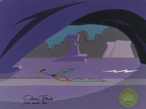 ROAD RUNNER CHASED BY THUNDERBOLT - ORIGINAL PRODUCTION CEL