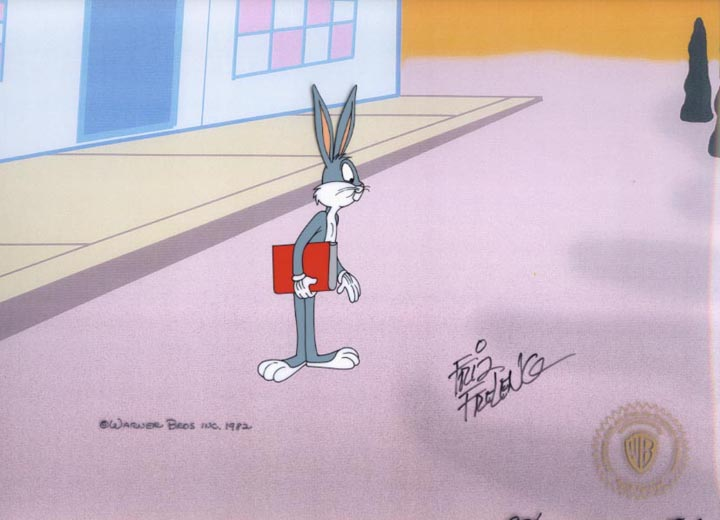 BUGS BUNNY FULL FIGURE WITH BOOK - ORIGINAL PRODUCTION CEL
