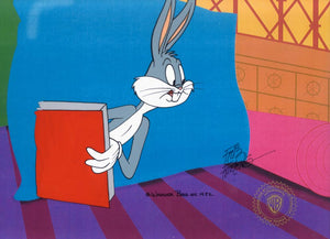 BUGS BUNNY CLOSE UP WITH BOOK - ORIGINAL PRODUCTION CEL