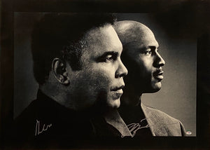 Rare Muhammad Ali and Michael Jordan signed photograph