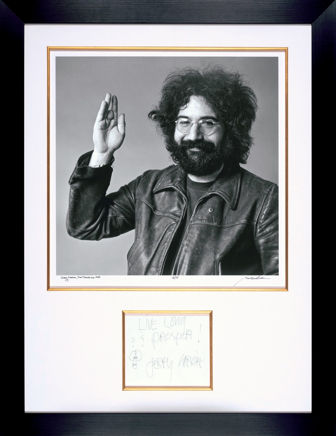 Original Jerry Garcia Autographed Sketch With Historic Fine Art Photograph