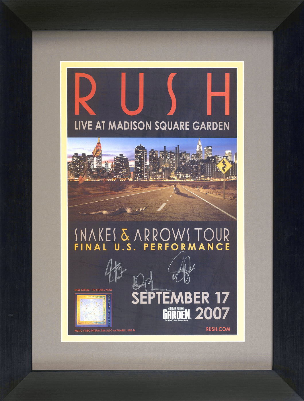 ORIGINAL SNAKES & ARROWS TOUR POSTER - HAND-SIGNED BY RUSH