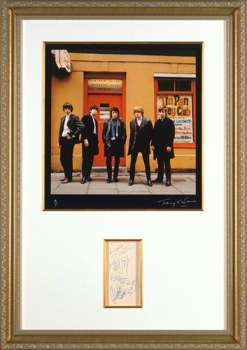ORIGINAL ROLLING STONES AUTOGRAPHS WITH HISTORIC FINE ART PHOTOGRAPH