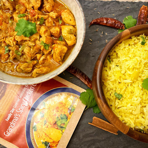 chicken curry and coconut rice