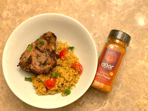 Grilled lamb recipe with a sprinkle of Curry powder