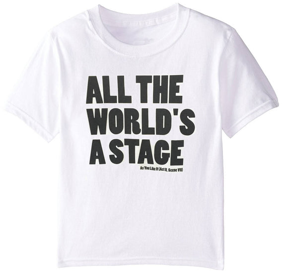 Acorn Printing Kids T Shirt: All The World's a Stage White 1
