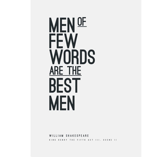 Genesis Greeting Card Typography: Men of Few Words are the Best Men 1