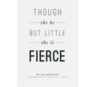 Genesis Greeting Card Typography: Though She Be But Little..(Fierce) 1