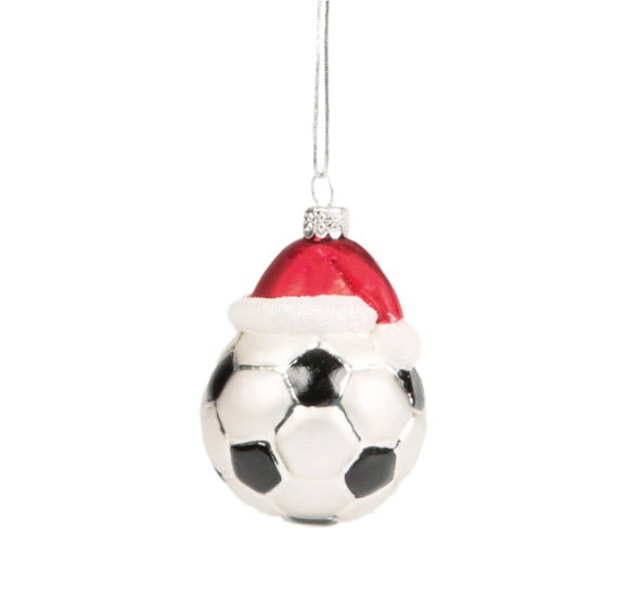 Sass & Bell Decoration: Football with Santa Hat 1