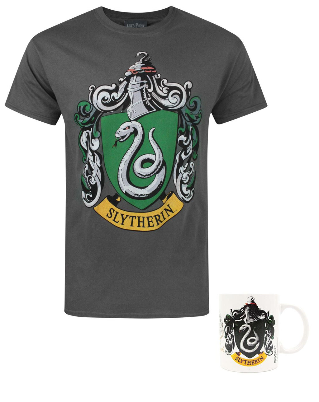 Harry Potter Slytherin Crest Men's T-Shirt and Mug Gift Set Bundle