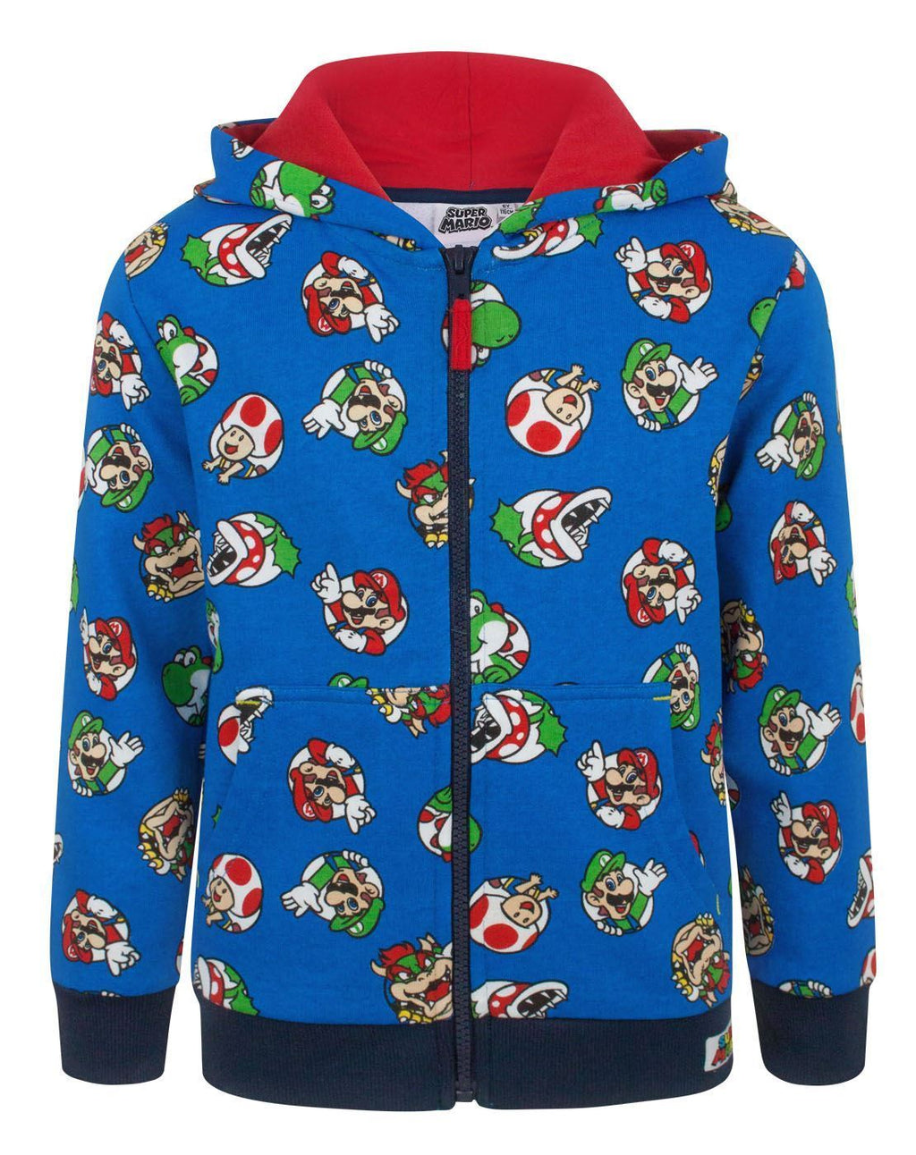 Super Mario Characters Boy's Zip Up Hoodie