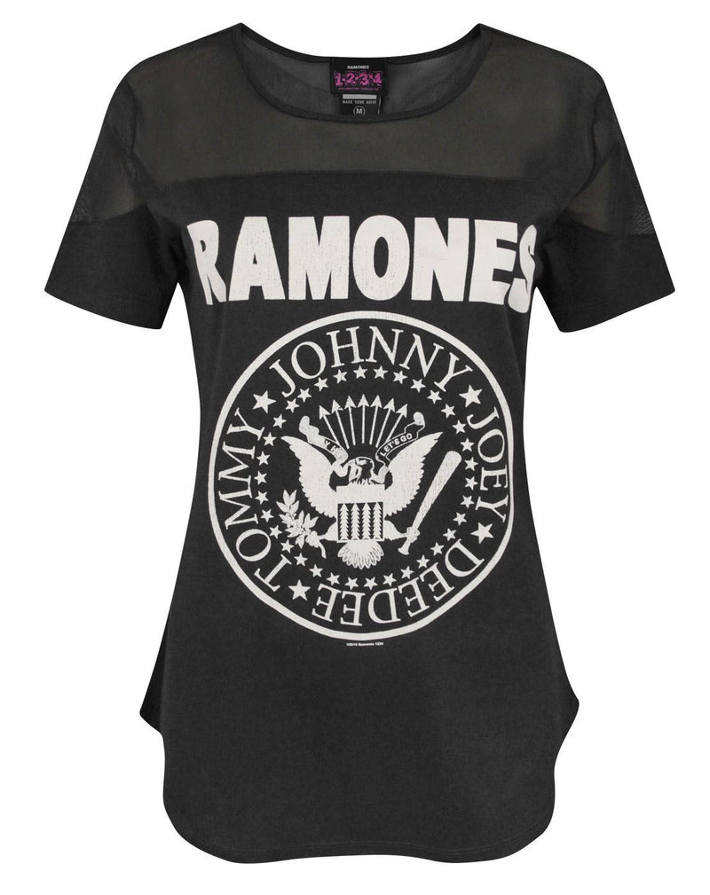 Amplified Ramones Seal Logo Women's Sheer Panel T-Shirt