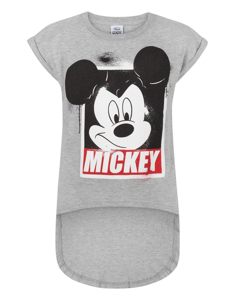 Disney Mickey Mouse Girl's Dipped Hem T-Shirt
