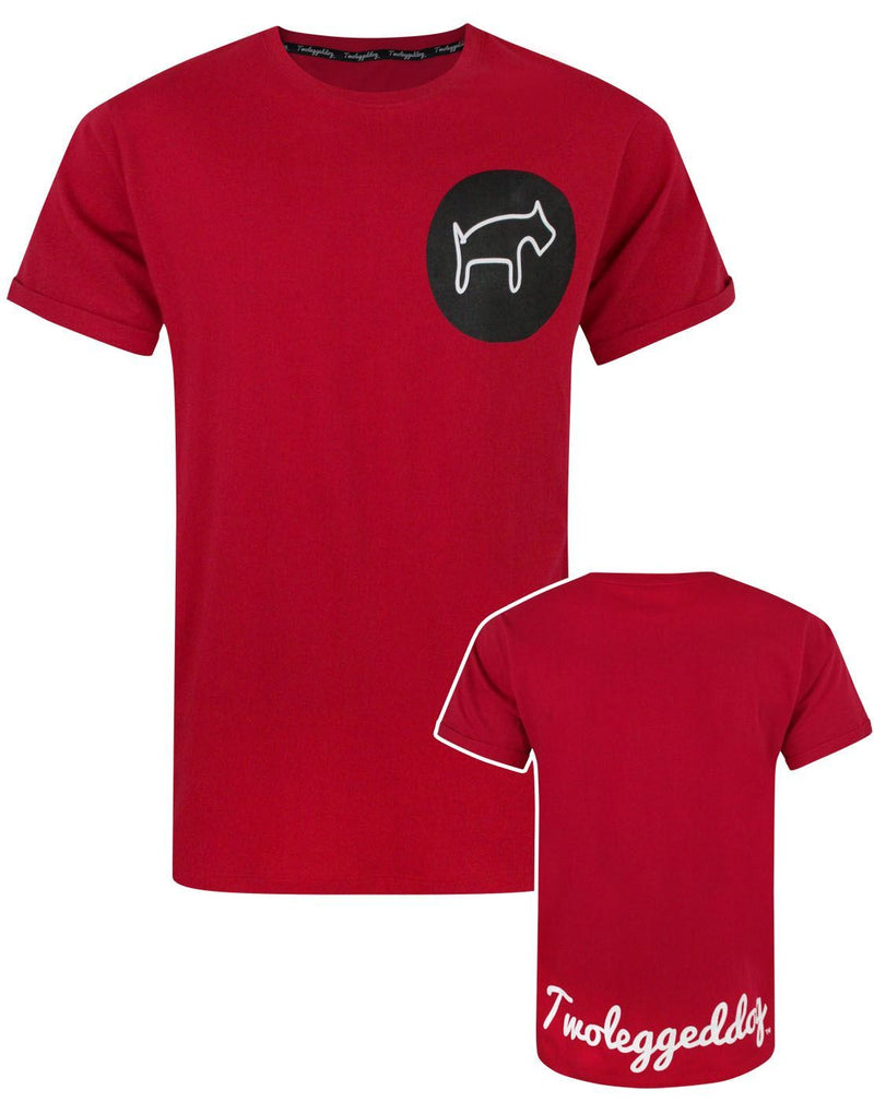 Two Legged Dog Circular Logo Men's Red T-Shirt