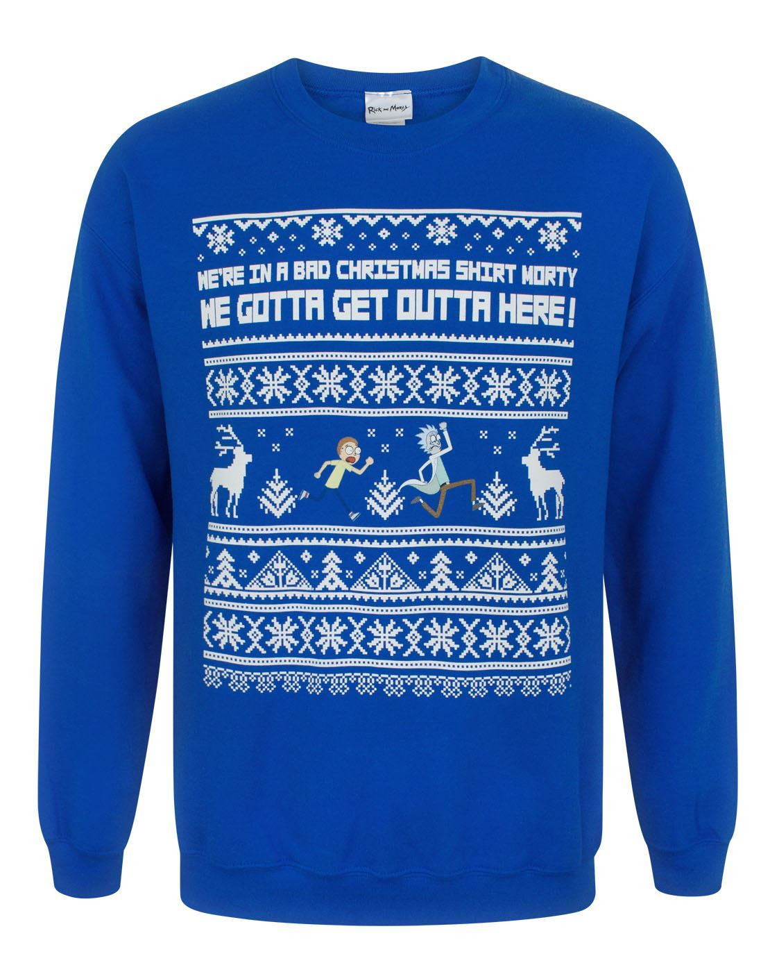 Rick And Morty Christmas Sweater.Rick And Morty We Gotta Get Outta Here Men S Christmas Sweatshirt