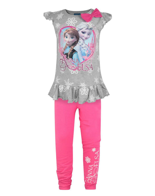 Frozen Anna and Elsa Girl's Top And Leggings Set