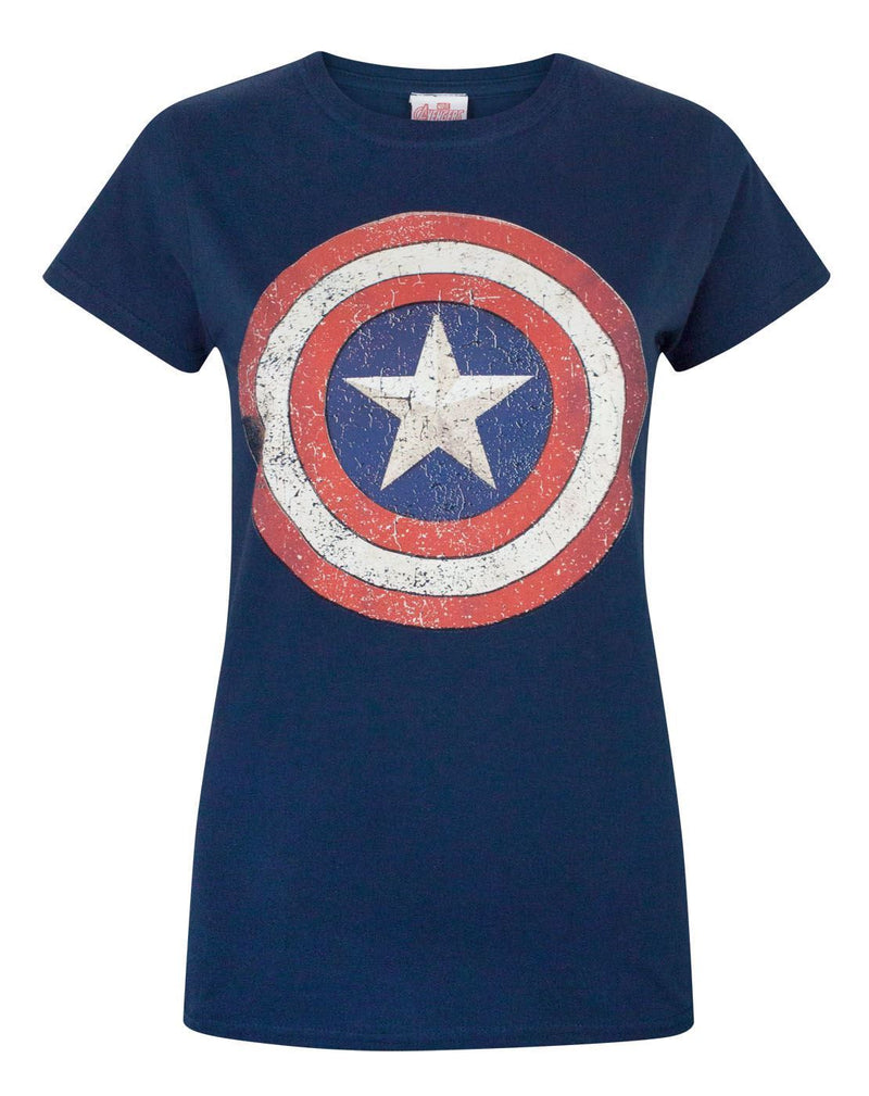 Captain America Distressed Shield Women's T-Shirt