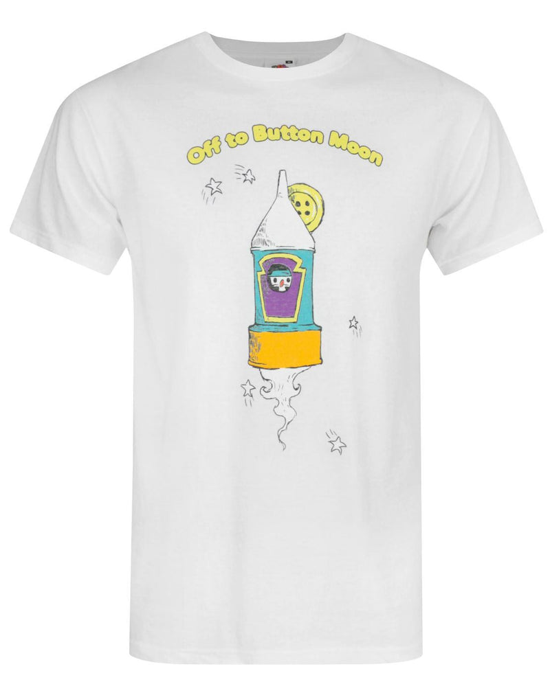Button Moon Rocket White Men's T-Shirt