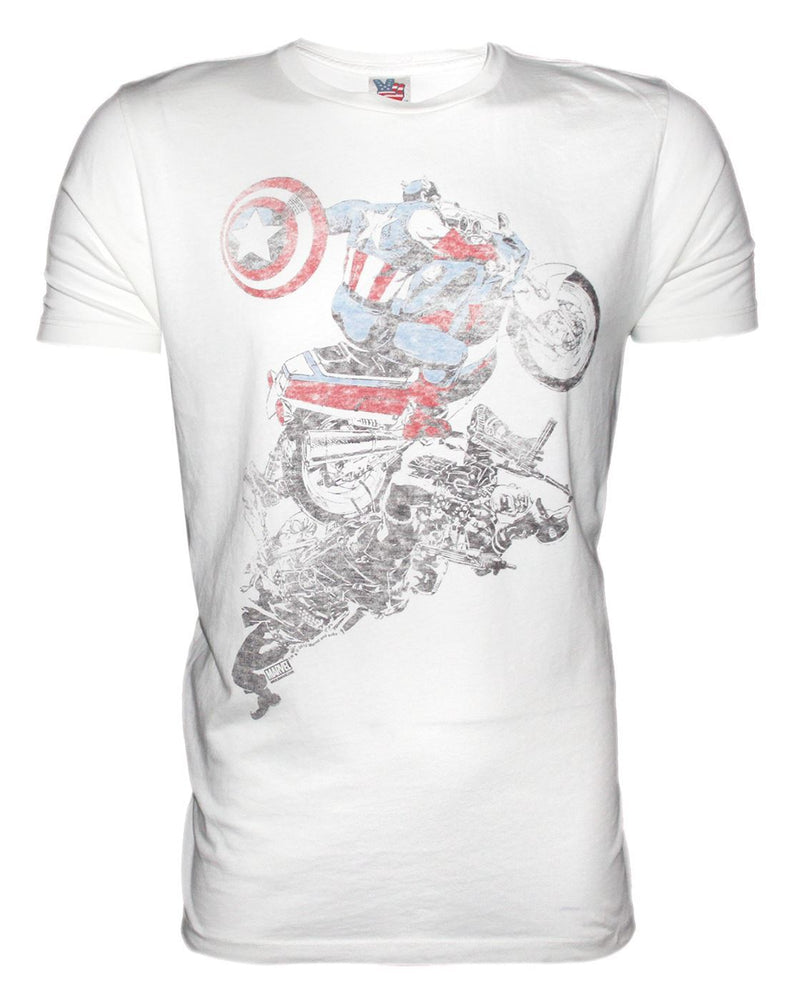 Junk Food Captain America Motorbike Men's T-Shirt