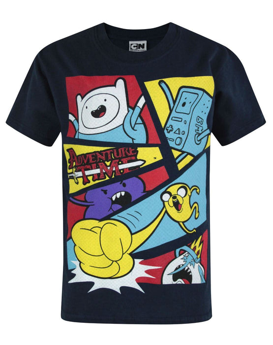 Adventure Time Characters Navy Short Sleeve Boy's T-Shirt