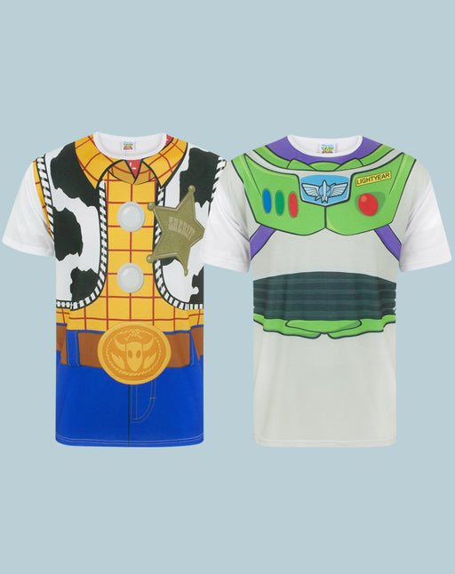 Disney Pixar Toy Story Woody Buzz Lightyear Costume T-Shirt Multi 2 PK Bundle