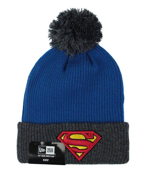 New Era Superman Kid's Ribbed Bobble Hat