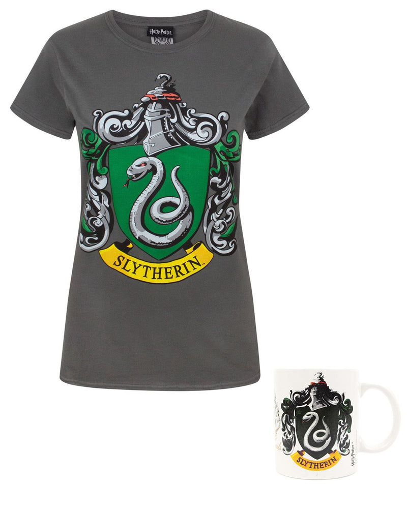 Harry Potter Slytherin Crest Women's T-Shirt and Mug Gift Set Bundle