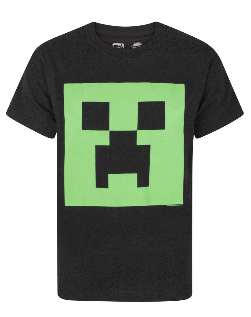 Minecraft Creeper Glow In The Dark Face Boys Black T-Shirt