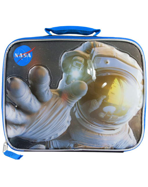 NASA Space station universe science tech educators web astronaut planets kids boys children's lunch box bag container school food sandwiches zip mixed materials multicoloured