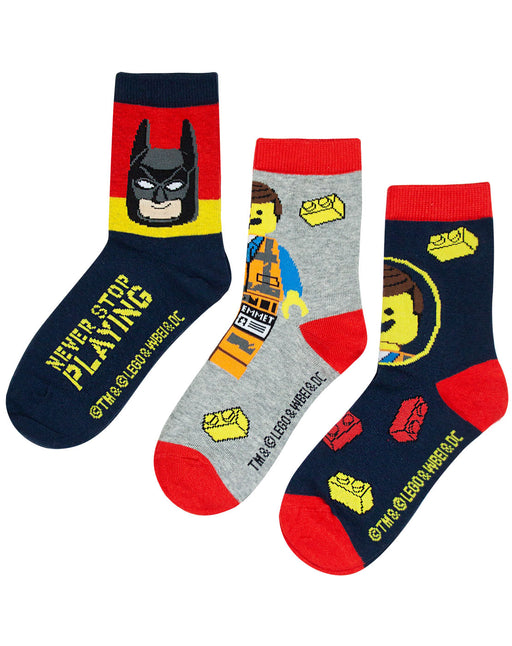 Lego Movie 2 Assorted 3 Pack Kids Red Socks