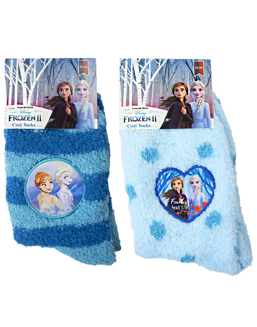 Disney Frozen 2 Anna & Elsa 2 Pack Of Anti-Slip Fluffy Slipper Socks