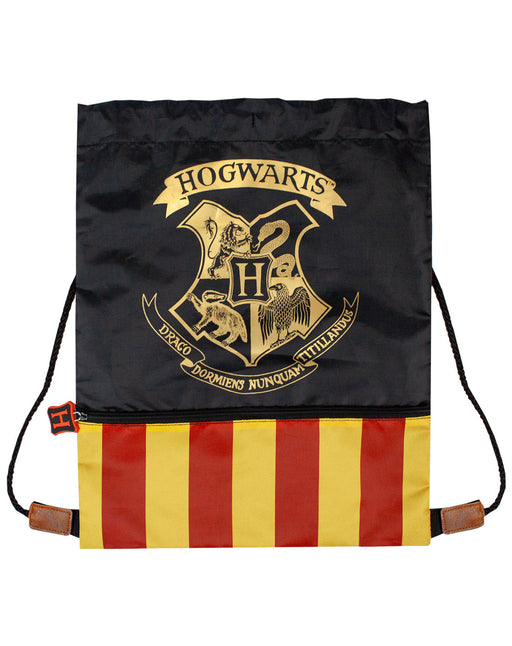 harry potter bag trainers school pe sports draw string drawstring back kids childrens boys girls unisex ron hermione gryffindor ravenclaw hufflepuff stripe black yellow gold gym swim
