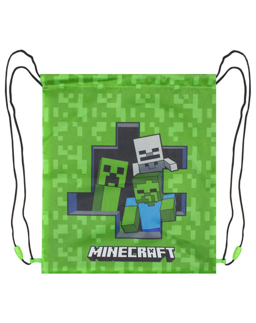 Minecraft Zombie Creeper Skeleton Drawstring Swim Bag - Green