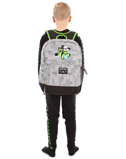 Minecraft Creeper Zombie Skeleton Breakthrough Backpack - Grey