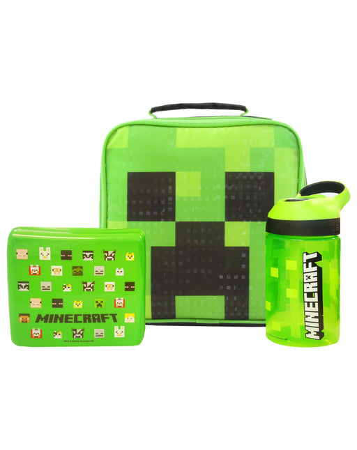 Minecraft Creeper Face Lunch Bag Set (Lunch Bag, Water bottle, Snack Pot) (One Size)