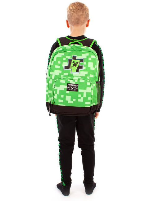 Minecraft Creeper Inside Kids School Backpack - Green