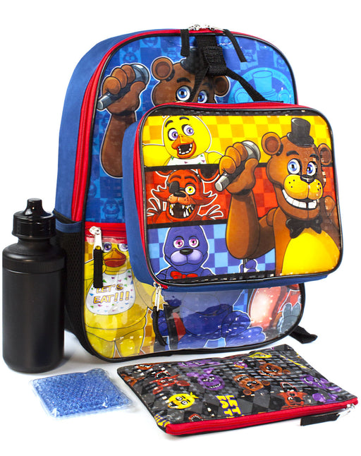 Five Nights At Freddy's FNAF School Backpack Lunch Box Water Bottle 5 Piece Set