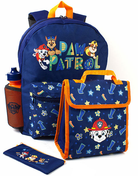 AWESOME PAW PATROL 4 PIECE SCHOOL BACKPACK SET FOR BOYS - Our super cool Paw Patrol 4 piece backpack set for kids is the best way for any Paw Patrol fan to carry their everyday and school essentials, school pack lunch, stationary and goodies in style. The backpack, lunch bag, water bottle and pencil case is a great idea as a Paw Patrol birthday present or for any special occasion.