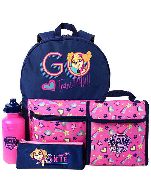AWESOME PAW PATROL 4 PIECE SCHOOL BACKPACK SET FOR GIRLS - Our super cool Paw Patrol 4 piece backpack set for kids is the best way for any Paw Patrol fan to carry their everyday and school essentials, school pack lunch, stationary and goodies in style. The backpack, lunch bag, water bottle and pencil case is a great idea as a Paw Patrol birthday present or for any special occasion.