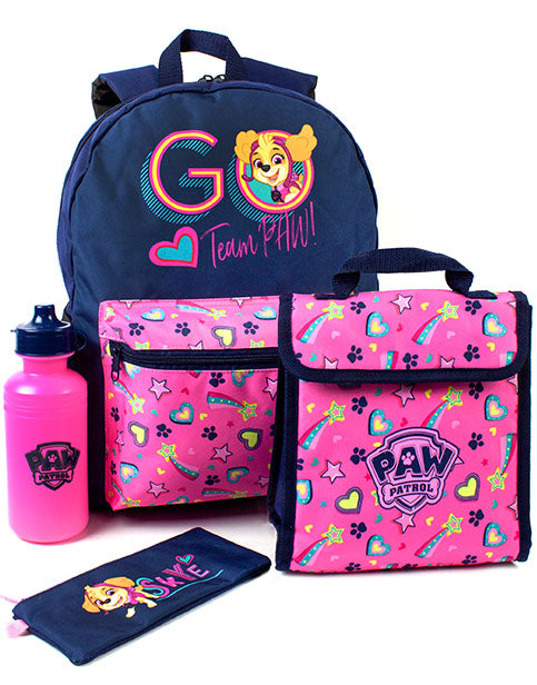 Paw Patrol School Backpack, Lunch bag, Pencil Case & Bottle 4 Piece Set for Girls