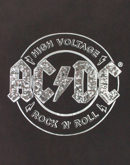 AC/DC High Voltage Sequin Acid Wash Women's Tie Front T-Shirt
