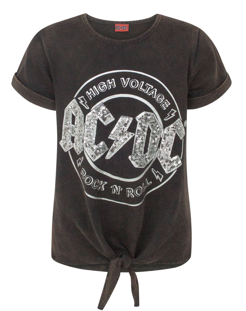 AC/DC High Voltage Sequin Girl's Acid Wash Tie Front T-Shirt