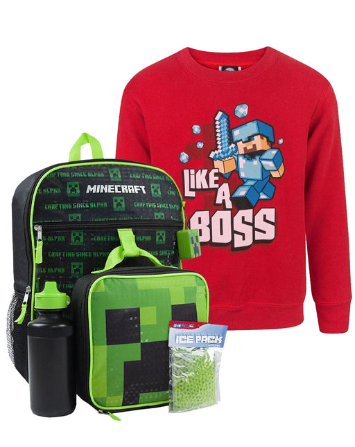Minecraft Kids Creeper 5 Piece Backpack Set and Like A Boss Sweatshirt Gift Set Bundle
